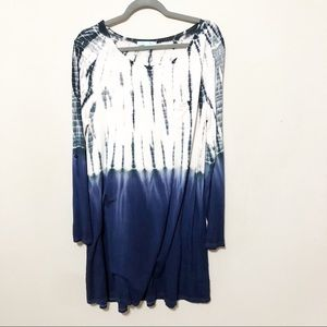 She + Sky Navy/White Dipped Dyed Adjustable Tunic
